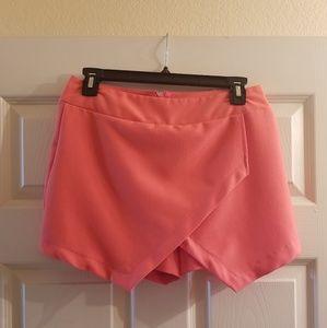 Coral asymmetric shorts